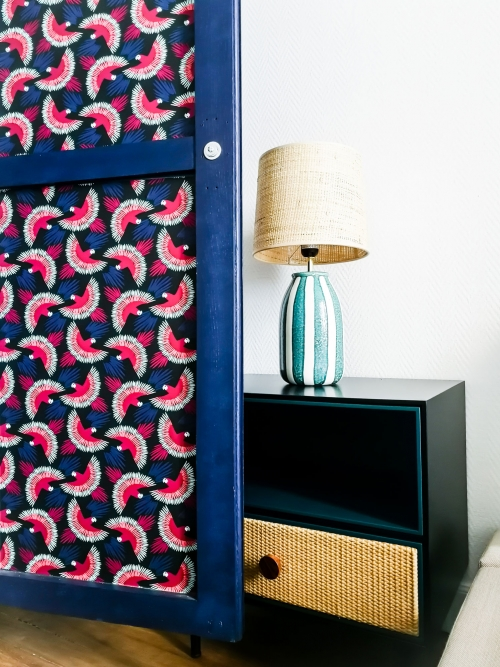 Vintage wardrobe in a teenager room combined with luxury handmade bed table and a rattan table lamp. Interior design in Paris, by Authentic Interior design studio, Aida Sniraite