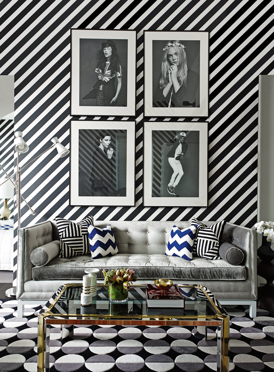 Stripes in interior, especially striped wallpapers adds efortlessly more joy, originality and happiness to the interior. Interior design blog www.AuthenticInterior.com