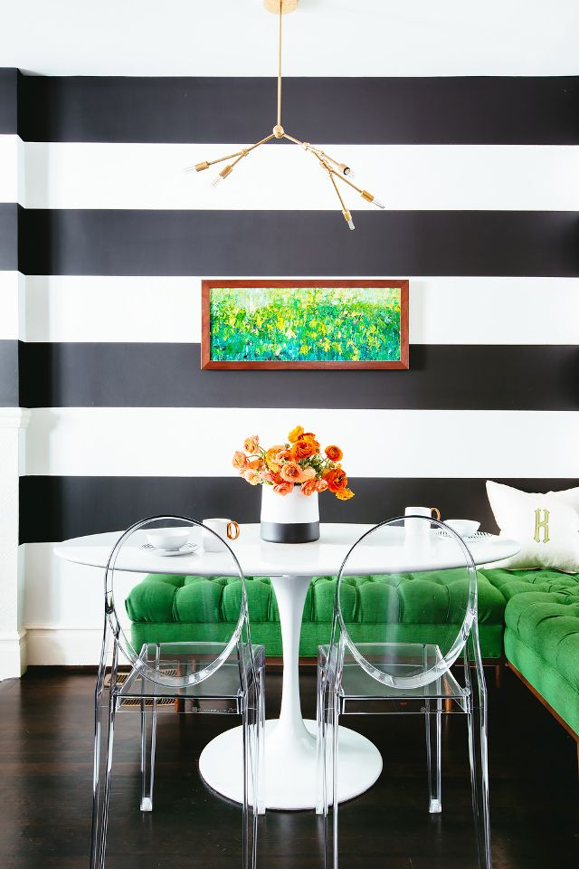 Stripes in interior, especially striped wallpapers add efortlessly more joy, originality and happiness to the interior.